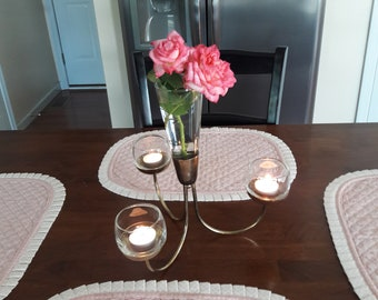 Vintage 1960's Retro Atomic Tapered Flower Vase and Votive Candle Centerpiece / Candelabra