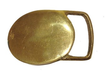 Vintage Solid Brass 1970's Belt Buckle - Western Style - Cowboy - Gift Ideas for him - Oval Round - Fathers Day Gift Idea