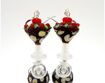 Ice Cream Sundae Earrings, Ice Cream Earrings, Food Earrings, Lampwork Earrings, Lampwork Glass Earrings, Ice Cream Jewelry, Ice Cream Party