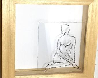 Tableau d'art textile, jeux d'ombres