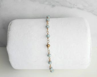 Zoe, gold filled beaded chain bracelet