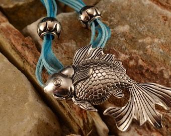 Destash: Necklace, silver fish and blue organza