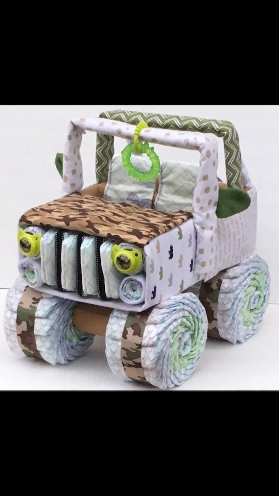 Elegant Camo Baby Diaper Jeep, Camo Baby Shower, Diaper Cake Centerpiece, Unique  Baby Gift, Diaper Cake, Baby Shower Ideas, Diaper Cake For Boys
