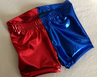 Harley Quinn Shorts costume 6 12 18 24 month 2T 3T 4T 5T 5 6 7 8 9 10 12 14 Suicide Squad Red and Blue Gymnastics gym girls baby toddler