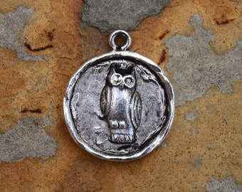 1 Antique Silver Owl Charm 24x20mm Nunn Designs
