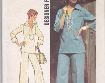 Simplicity 6895 Misses 1970s Lace Up Big Collar Front Pocket Top Wide Leg Pants Charlie's Angels Style Size 8 Bust 31 1/2