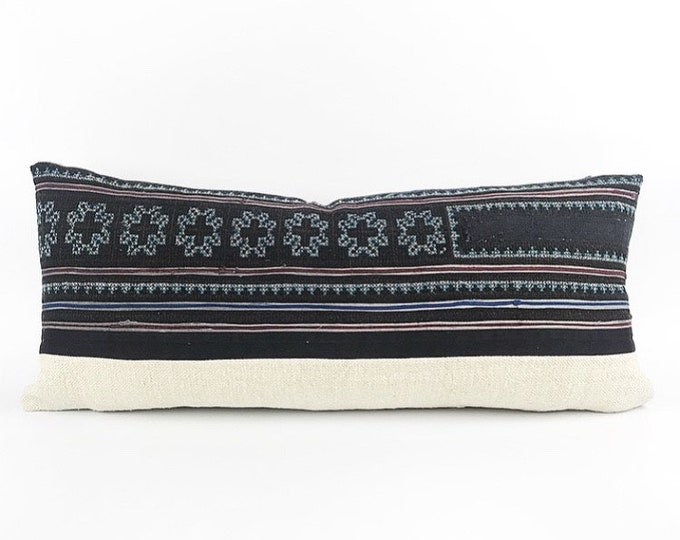 Vintage Hand Embroidered Hmong Textile And Vintage French Linen Lumbar Pillow Cover 12x28