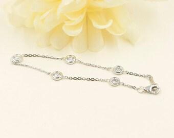 5 pieces of Bezel Diamond Bracelet/Diamond Station Bracelet/0.75 CT. Diamond Bracelet/14k White,Yellow,Rose Gold Bracelet/Simple Bracelet