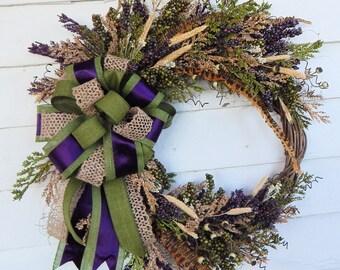 Spring Wreath,Front Door Silk Floral Wreath in Plum & Avocado -Year Round Wreath,Rustic Wreath,Woodland Wreath-Monogram