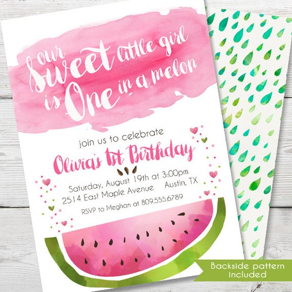 Watermelon Invitation One In A Melon Watermelon Party First