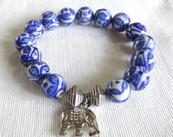Blue & White Beaded Bracelet with Elephant Charm, Elephant Bracelet, Elephant Jewelry, Elephant Charm Bracelet