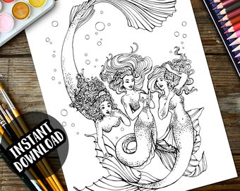 Adult Coloring Page, Mermaid coloring, Instant Download, Printable, relax, relieve stress, line art Mermaids reading book found underwater!