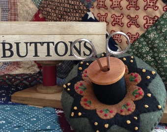 Primitive Colonial Inspired hand embroidered Pincushion Scissor Holder Pin Cushion Sewing Room Décor 2 Pc Wooden Thread Spool- Ready to Ship
