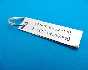 Coordinates Keychain - Latitude Longitude Keychain - Personalized Keychain -Geocache