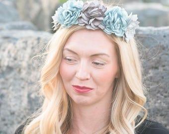 Spring flower crown, bridal headpiece vintage, silk flower crown, boho wedding headpiece, bohemian headpiece, bohemian flower crown, wedding