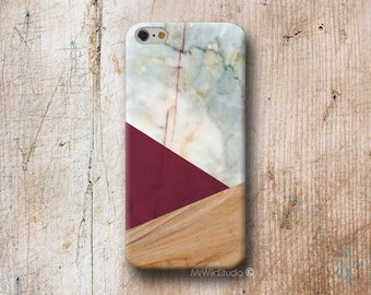 Burgundy Triangle Wood print Phone Case for iPhone 4 4s 5 5s SE 5C 6 6S 7 8 PLUS X iPod Touch 5 6 Oneplus 2 3 5 1+2 1+3 1+5
