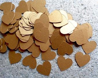 Antique Gold Confetti Hearts Small Shiny Gold Heart Shaped Confetti Dark Gold Wedding Decor 215 Gold Cardstock Hearts 3/4 inch Gold Confetti