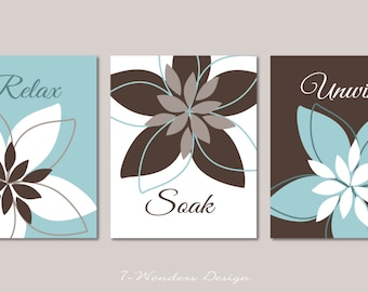 Bathroom Art Prints Relax Soak Unwind Abstract Floral Set Of (3) 5x7 OR 8x10