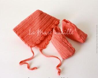 All booties and hat bonnet baby crochet cotton coral de La Mare' mesh