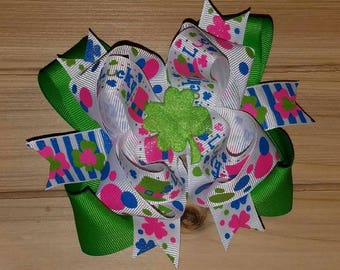 STORE CLOSING, Lucky, Boutique hair bow, St. Patrick's Day
