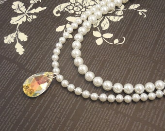Very Gorgeous and Elegant, Wedding Bridal White Glass Pearl Two Strand Necklace with Shiny Swarovski Tear Drop Crystal Pendant
