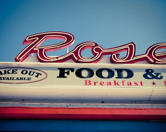 Somerville Neon Sign | Davis Square | Rosebud Diner | Retro Kitchen Decor | Retro Kitchen Wall Art | Neon Sign Print | Boston Photography