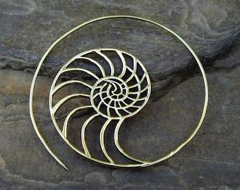 Golden Ratio Shell Fibonacci Earrings (Pair) Phi 1.61 Magic Sacred Geometry, Ajjaya of life Tribal Brass Jewellery Jewelry Gypsy