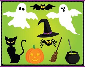 Digital Clip Art - Halloween Stuffs - Instant Downloads - bats, ghost, spiders, witch hat, pots