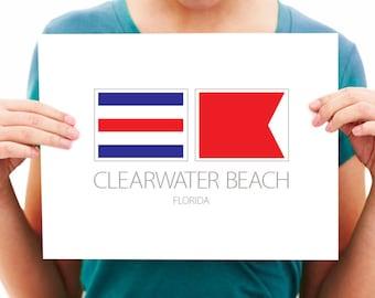 Clearwater Beach, Florida, Nautical Flag Art Print