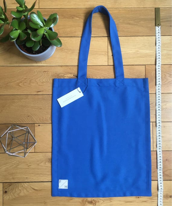 Bright Blue woven cotton drill Tote Bag
