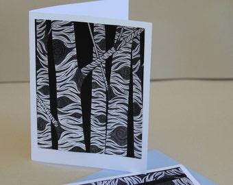 Birch Stationery Set, Stationary Set Card Art Aspen Tree Black and White Birch Trees Woodland Forest Illustration Rustic