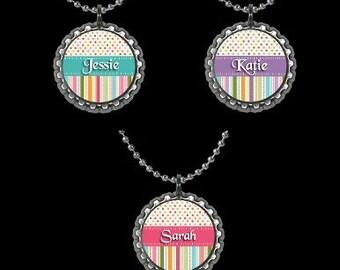 Personalized Party Favor Necklaces Pendants Pink Purple Blue Tween Teen Kids Adults