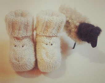 Baby booties owl detail, Knitting pattern, baby shoes, baby booty, knit pattern, newborn gift, Newborn Cozy Booties