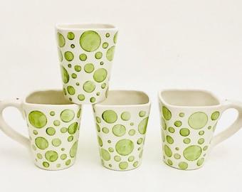 Set of 4 Mugs, Polka Dot Mugs, Dots, Coffee, 12 oz, Handmade By Sara Hunter