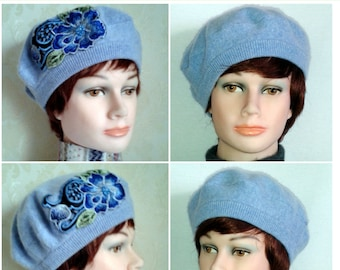 Women's fine merino wool beret- Blue beret with embroidery applique-Sky blue berets-Elegant pure wool berets-SIZE M/L