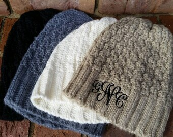 Monogrammed Chunky Knit Cap