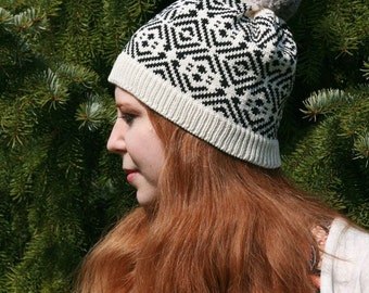 Spring Fall Autumn Hat, Traditional Ancient Iron Age Fair Isle Beanie, Customized Beanie, Gift for Her, Unique Gift, Card Weaving, MWB