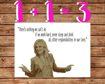Printable Leslie Knope Graduation Card, Funny Leslie Knope Graduation Card, Parks and Recreation, There's Nothing We Can't Do, Work Hard
