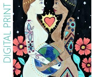 "DIGITAL ""Mundo"" print/poster /Birth Art/ Pregnancy Art/ midwife/ doula/ gift for new mom"