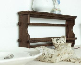 Vintage French wooden dish towel rack tea towel rack kitchen rack kitchen shelf & Primitive plate rack   Etsy