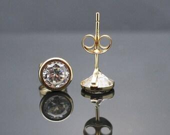 14K Yellow Gold 5.6mm Bezel cz lab created diamond Earrings for sale