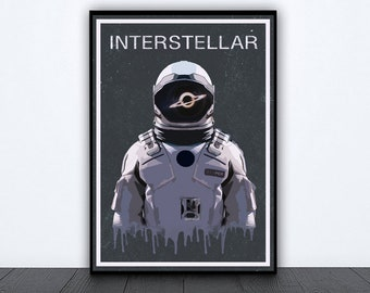 Interstellar film painting movie art room artwork minimalist gift space minimal poster room wall decor Matthew mcconaughey Christopher nolan