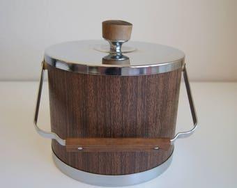 Vintage Kromex Faux Wood & Chrome Ice Bucket