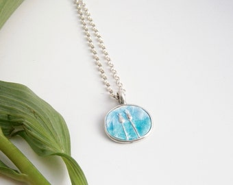 Enamel seeded necklace - Reversible necklace - Enamel necklace - Two-sided necklace - Seedhead pendant - Blue necklace