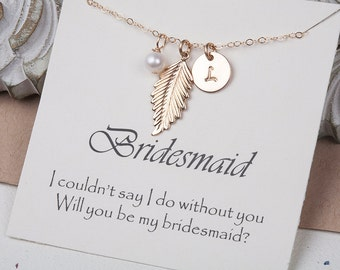 Initial feather necklace,bridesmaid gift,personalized note card,custom font Monogram necklace,custom birthstone,wedding gift,bridesmaid gift