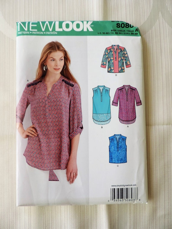 New Look S0803 Size 10-22 Misses Tops Sewing Pattern / UNCUT Factory ...