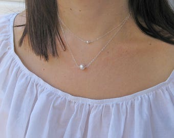 Single Pearl Necklace, 14k Gold Fill, 925 Sterling Silver, Swarovski White Pearl Necklace, Bridesmaid Gift, June Birthstone, Bridal Necklace