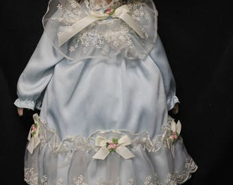 17 inch Porcelain Doll in Blue Party Dress