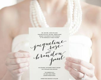 Printable Wedding Invitations Classic Invites Invitation Suite Calligraphy