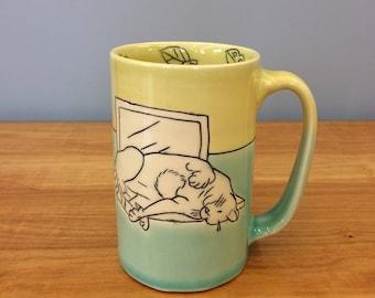 Handmade Mug with Cat on a Computer. Glazed in Aqua & Lime. MA28